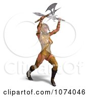 3d Medieval Fantasy Warrior Princess Fighting With A Sword And Axe 4