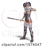 3d Medieval Fantasy Warrior Princess Holding A Sword 3