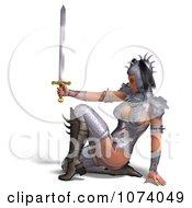 Clipart 3d Medieval Fantasy Warrior Princess Holding A Sword 5 Royalty Free CGI Illustration