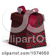 Clipart 3d Zig Zag Patterned Gift Box 2 Royalty Free CGI Illustration