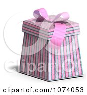 Clipart 3d Pink Stripe Patterned Gift Box 1 Royalty Free CGI Illustration