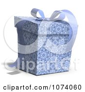Clipart 3d Blue Patterned Gift Box 1 Royalty Free CGI Illustration