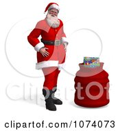 Clipart 3d Santa Standing By A Bag 1 Royalty Free CGI Illustration by Ralf61