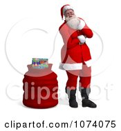 Clipart 3d Santa Standing By A Bag 2 Royalty Free CGI Illustration by Ralf61