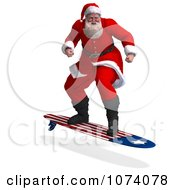 Clipart 3d Santa Surfing Royalty Free CGI Illustration