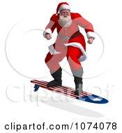 Clipart 3d Santa Surfing Royalty Free CGI Illustration by Ralf61