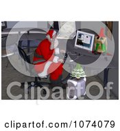 Clipart 3d Santa Working On A Computer In His Office Royalty Free CGI Illustration by Ralf61