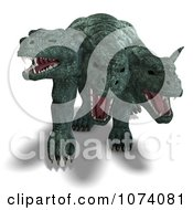 Clipart 3d Three Headed Dog Dragon Royalty Free CGI Illustration