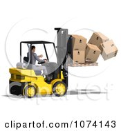 Clipart 3d Careless Warehouse Forklift Operator Dropping Boxes 2 Royalty Free CGI Illustration