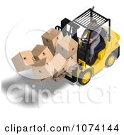 Clipart 3d Careless Warehouse Forklift Operator Dropping Boxes 3 Royalty Free CGI Illustration