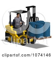 Clipart 3d Warehouse Forklift Operator Moving Barrels 1 Royalty Free CGI Illustration