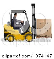 Clipart 3d Warehouse Forklift Operator Moving Boxes 1 Royalty Free CGI Illustration