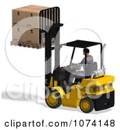 Clipart 3d Warehouse Forklift Operator Moving Boxes 2 Royalty Free CGI Illustration