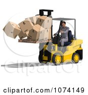 Clipart 3d Careless Warehouse Forklift Operator Dropping Boxes 1 Royalty Free CGI Illustration