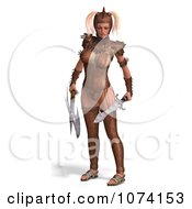 3d Medieval Fantasy War Princess Holding A Sword And Axe