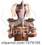 3d Medieval Fantasy War Princess Holding A Sword 1