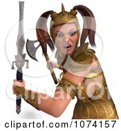 3d Medieval Fantasy War Princess Fighting With A Sword And Axe 1