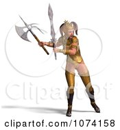 3d Medieval Fantasy War Princess Fighting With A Sword And Axe 2
