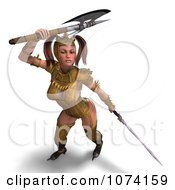 3d Medieval Fantasy War Princess Fighting With A Sword And Axe 3