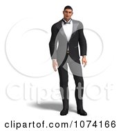 Clipart 3d Formal Man In A Tuxedo 1 Royalty Free CGI Illustration