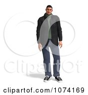 Clipart 3d Casual Man In Jeans Royalty Free CGI Illustration