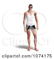 Clipart 3d Man In Shorts A Tank Top And Shades Royalty Free CGI Illustration