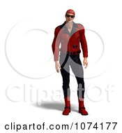 3d Biker Man In Red And Black