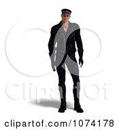 Clipart 3d Biker Man In Black Royalty Free CGI Illustration