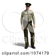 Clipart 3d Male Police Officer In A Green Uniform 1 Royalty Free CGI Illustration