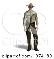 Clipart 3d Male Police Officer In A Green Uniform 2 Royalty Free CGI Illustration