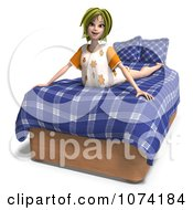 Clipart 3d Young Woman Stretching On Her Bed Royalty Free CGI Illustration