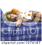Clipart 3d Young Woman Resting On Her Bed 2 Royalty Free CGI Illustration