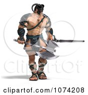 Clipart 3d Strong Barbarian Man Holding A Sword And Axe 1 Royalty Free CGI Illustration by Ralf61