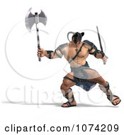 Clipart 3d Strong Barbarian Man Fighting With A Sword And Axe 1 Royalty Free CGI Illustration by Ralf61