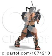 Clipart 3d Strong Barbarian Man Fighting With A Sword And Axe 2 Royalty Free CGI Illustration by Ralf61