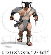 Clipart 3d Strong Barbarian Man Holding A Sword And Axe 2 Royalty Free CGI Illustration by Ralf61
