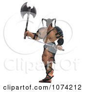 Clipart 3d Strong Barbarian Man Holding A Sword And Axe 3 Royalty Free CGI Illustration by Ralf61
