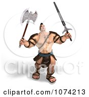 Clipart 3d Strong Barbarian Man Fighting With A Sword And Axe 3 Royalty Free CGI Illustration by Ralf61