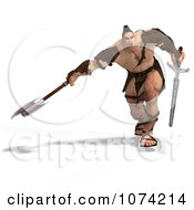 Clipart 3d Strong Barbarian Man Fighting With A Sword And Axe 4 Royalty Free CGI Illustration by Ralf61