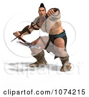 Clipart 3d Strong Barbarian Man Fighting With A Sword And Axe 5 Royalty Free CGI Illustration by Ralf61