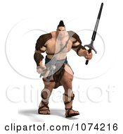 Clipart 3d Strong Barbarian Man Holding A Sword And Axe 4 Royalty Free CGI Illustration by Ralf61