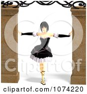 Clipart 3d Gothic Young Woman Between Columns Royalty Free CGI Illustration