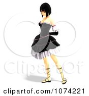 Clipart 3d Gothic Young Woman In A Black Dress 7 Royalty Free CGI Illustration