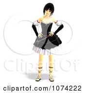 Clipart 3d Gothic Young Woman In A Black Dress 6 Royalty Free CGI Illustration