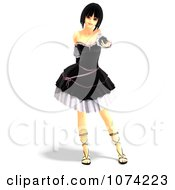 Clipart 3d Gothic Young Woman In A Black Dress 5 Royalty Free CGI Illustration