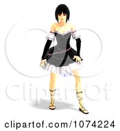 Clipart 3d Gothic Young Woman In A Black Dress 4 Royalty Free CGI Illustration