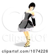 Clipart 3d Gothic Young Woman In A Black Dress 3 Royalty Free CGI Illustration