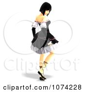 Clipart 3d Gothic Young Woman In A Black Dress 2 Royalty Free CGI Illustration