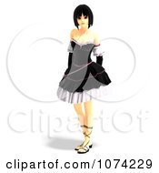 Clipart 3d Gothic Young Woman In A Black Dress 1 Royalty Free CGI Illustration