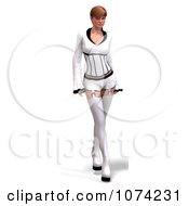 Clipart 3d Goth Woman In White Clothes Royalty Free CGI Illustration